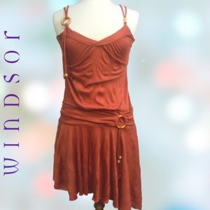 Windsor Burnt Orange Boho Dress Medium